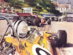 1971 Monaco GP, Monte Carlo. The #9 McLaren-Ford M19A driven by Denis Hulme into 4th place and qualified 6th.