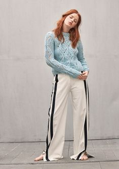 Booklet 1803 - No. 16 - Sweater with lace pattern, knitted in Kos Lace Patterns, Kos, Long Cardigan, Knitwear, How To Look Better, Khaki Pants, Street Style, Pullover, Chic