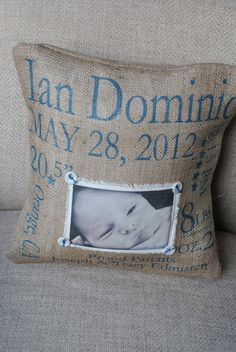 Birth Announcement Customizable Baby Pillow by MonMellDesigns
