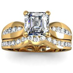 Asscher Archetypal Engagement Ring Wedding Set - An unusual prototype of the sort is what you see at first glance with this Asscher Archetypal Engagement Ring Wedding Set in 14k Yellow Gold. It features a large & pretty .50 carat Asscher Cut Diamond with 27 White Round accent stones on the top & sides of the shank & band. The Asscher Archetypal set comes with a VS2 in clarity & an H in color & the total gem weight is equal to .80 carats. The diamonds are 100% natural. #unusualengagementrings
