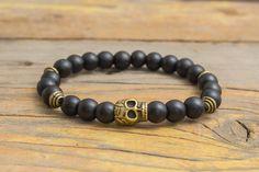 Matte black onyx beaded stretchy bracelet with bronze by GAALco