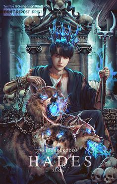"""- """"BTS Greek Gods art project Hades - Suga Hades is the god of the dead and the king of the underworld. He was often portrayed with his three-headed guard dog Cerberus Bts Suga, Bts Taehyung, Jhope, Hades, Bts Beautiful, Bts Drawings, Bts Korea, Bts Chibi, Bts Fans"""