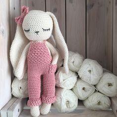 "Bunny girl with ""salopette"" Crochet Amigurumi, Amigurumi Doll, Crochet Dolls, Gifts For Newborn Girl, Newborn Toys, Little Girl Toys, Toys For Girls, Crochet Rabbit, Hand Crochet"