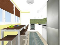 3D color floor plan for a galley style kitchen with view outdoors and decor from Pier 1 Imports  Crate and Barrel; Designed in RoomSketcher   Upgrade home design images from great to gorgeous with RoomSketcher VIP or Pro. It's fast, easy and affordable!   http://www.roomsketcher.com/pricing/  #floorplan #kitchen