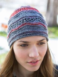 """@BerrocoYarn Colora """"Cobbscook"""" Hat. """"This hat has a striped lace pattern that uses one ball each of 3 colorways."""" Size 3 and 5 needles."""