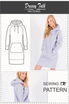 Sweatshirt Hoodie Fashion Sewing Patterns Ideas For 2019 Dress Sewing Patterns, Clothing Patterns, Pattern Sewing, Pattern Dress, Free Pattern, Fashion Pattern, Hoodie Pattern, Pocket Pattern, Diy Sweatshirt