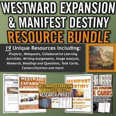 Westward Expansion / Manifest Destiny - Resource Bundle - This Westward Expansion resource bundle includes 19 unique documents totaling over 120 pages of excellent and engaging content. This Westward Expansion resource bundle focuses on the major people, events, themes of Westward Expansion and Manifest Destiny.