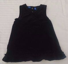 Greendog Baby Girl Dress 80 18M Sparkly Black Corduroy Sleeveless Jumper Ruffles #Greendog #DressyEverydayHoliday