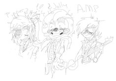 Not done with it, but here are my friend's animatronic OC's. Left to right: Pipper the pirate, Jolly the clown, AMP the musician