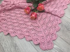 Pink crochet baby blanket for girl or boy / dusty от TeetherLand