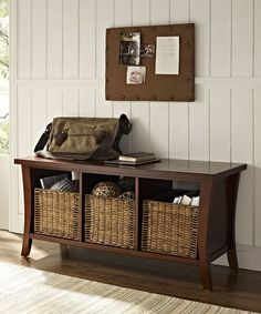 This sturdy bench provides the perfect place to rest tired feet and doubles as a cubby for storing essentials like shoes, purses and much more. It even includes three baskets so adding contemporary convenience to any room is a cinch.