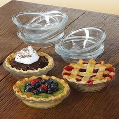 Libbey Glass Just Baking Mini Pie Plate Set, 10-piece  Durable clear glass mini pie plate set is the ideal size for tasting parties. $29.95
