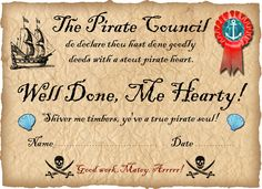 Printable pirate certificate saying well done