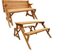 Wow, this bench can be converted into a picnic table!