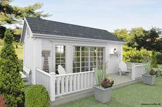 25 kvadrat Attefallshus Filippa - Fasad - Framsida Outdoor Office, Backyard Office, Backyard Sheds, Shed Design, Tiny House Design, Gym Shed, Rooms Home Decor, Airstream, Log Homes