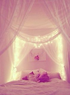 Either over my bed or over my mirrors, so pretty!