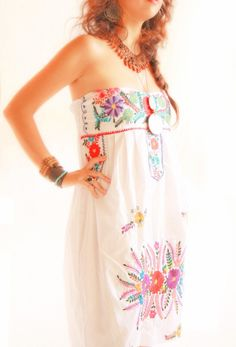 White Blanco Mexican party dress colorful floral by AidaCoronado, $148.00