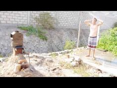 Rocket Stove instant hot water heater built from trash! - YouTube