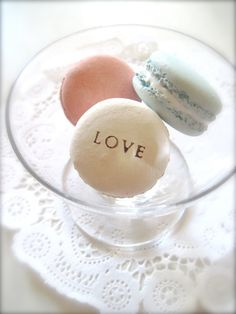 Valentines gift - Pink, Blue, White Love Ceramic Macaron Sachet-Fragrance Object