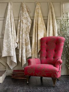 ZsaZsa Bellagio: Berry Charming Muted floral fabrics as art for texture and warmth.
