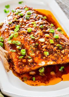 Firecracker Salmon/perk up your dinner tonight with this firecracker baked salmon. Red pepper flakes and Sriracha sauce provide this salmon with some fiery flavor that give this salmon its name. Grilled Salmon Recipes, Fish Recipes, Seafood Recipes, Cooking Recipes, Dinner Recipes, Salmon Dishes, Fish Dishes, Seafood Dishes, Gourmet