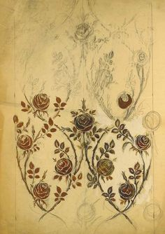 Raoul Dufy, a design of trained roses in pencil, pastel and brown bodycolour on wall paper - 105 x 74cm