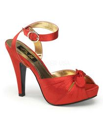 Pinup Couture Bettie Red Satin Platforms | Retro Shoes