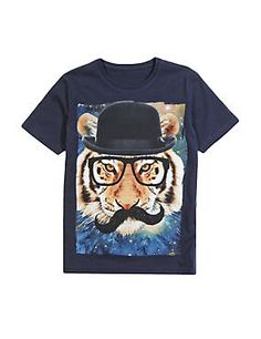 Navy Pure Cotton Space Tiger Print T-Shirt (5-14 Years)