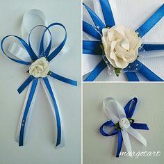 Ślubne elementy dodatki kotyliony-chabrowo białe kotyliony dla gości weselnych i dla świadków i rodziców