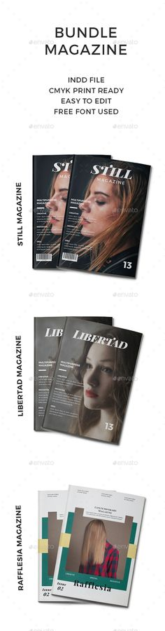 BUNDLE #MAGAZINE 3 IN 1 - #Magazines Print Templates Download here: https://graphicriver.net/item/bundle-magazine-3-in-1/20266961?ref=alena994