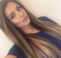Medium brown hair with caramel highlights