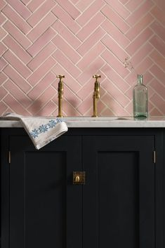 Our Blush Pink Handmade tiles look stunning against this Pantry Blue kitchen fro. - Our Blush Pink Handmade tiles look stunning against this Pantry Blue kitchen from deVOL Kitchens - Interior Modern, Bathroom Interior Design, Kitchen Interior, Interior Colors, Interior Paint, Kitchen Furniture, Pink Bathroom Tiles, Pink Tiles, Blue Kitchen Tiles