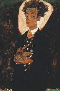 Egon Schiele -Self Portrait with Peacock Waistcoat, Standing(1911) - gouache, watercolour & crayon