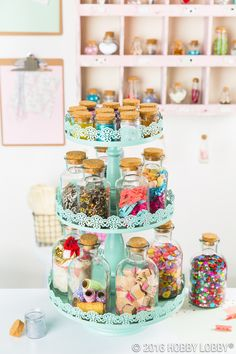 Glass bottles are one of the most versatile DIY staples around! They're cute and functional--paint them, decorate them, fill them, the options are endless! Craft Organization, Craft Storage, Storage Ideas, Kitchen Spice Racks, Organizing Your Home, Hobby Lobby, Room Inspiration, Diy And Crafts, Diy Projects
