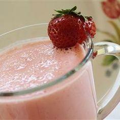 Strawberry-Pineapple Smoothie Recipe (I use frozen strawberries, pomegranate greek yogurt, pineapple chunks, no ice)