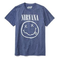Old Navy Nirvana Graphic Tee For Men ($20) ❤ liked on Polyvore featuring men's fashion, men's clothing, men's shirts, men's t-shirts, tops, men, guys clothing, shirts, blue and old navy mens t shirts