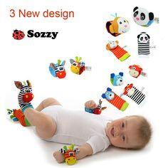新しいデザインsozzy赤ちゃん男の子女の子のおもちゃ赤ちゃんガラガラ動物フットファインダーソックス手首ストラップソフト子供幼児新生児ぬいぐるみ靴下