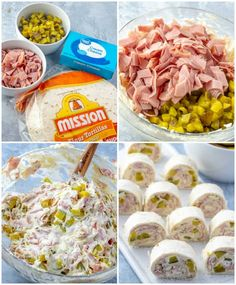 Pickle Dip Pinwheels - The Perfect Party Appetizer! - pickle dip pinwheel in process shots - Appetizer Dips, Appetizers For Party, Tortilla Roll Ups Appetizers, Easy Party Snacks, Parties Food, Comida Baby Shower, My Favorite Food, Favorite Recipes, Pinwheel Recipes