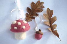 Woodland Nursery Mushroom Ornaments Needle by Faeriesinmycloset
