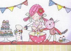 Emily Button and her friends Bobble the Cat and Mousey the mouse are busy making cup cakes.