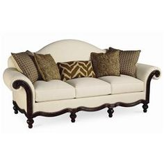 Pauline Camel Back Sofa With Wood Base By Thomasville®   Miller Brothers  Furniture   Sofa