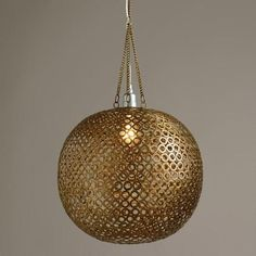 One of my favorite discoveries at WorldMarket.com: Brass Disc Hanging Pendant Lamp