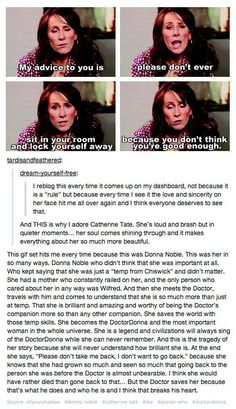 The amazing Catherine Tate, who played Donna Noble on Doctor Who.  Even if you're not (currently) a fan of the show, it's well worth a read.