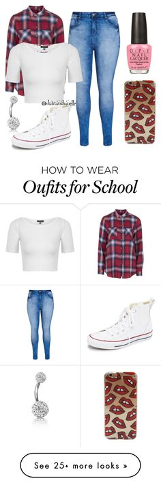 """""""Cute School Outfit"""" by diavianshanelle on Polyvore featuring Topshop, City Chic, Converse, OPI, Bling Jewelry, women's clothing, women, female, woman and misses"""