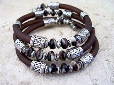 Rubber Wrap Bracelet, Bohemian Bracelet, Cuff Bracelet, Rubber Cord, Memory Wire Cuff, Beaded Bracelet, Ready to Ship, by Feralspassage