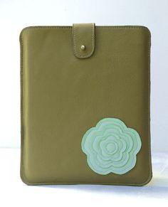 iPad Case iPad Sleeve iPad Cover Retro Modern Flower Mint Green & Coffe Crema Brown Leather. $68.00, via Etsy.
