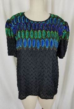 4ea7d1cd52 Stenay Heavily Beaded Sequined Formal Evening Top Blouse Womens XL Peacock  Black  Stenay  Vintage