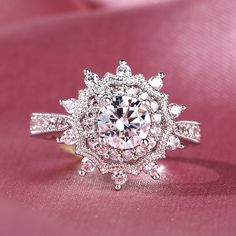 Jeulia offers premium quality jewelry at affordable price, shop now! Snowflake Engagement Ring, Deco Engagement Ring, Antique Engagement Rings, Halo Diamond Engagement Ring, Wedding Engagement, Silver Rings Online, Vintage Style Rings, Round Cut Diamond, Wedding Ring Bands