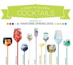 10 Colorful Cocktails Inspired by Pantone Spring 2013 // Hostess with the Mostess® Party Drinks, Cocktail Drinks, Cocktail Recipes, Alcoholic Drinks, Cocktail Ideas, Beverages, Chinease Food Recipe, After Work Drinks, Colorful Cocktails