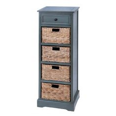 Tall Grey Wood Cabinet with 4 Wicker Basket Drawers